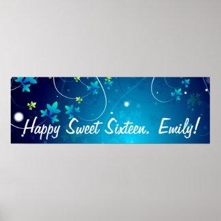 Bandera de la fiesta de cumpleaños del dulce dieci póster
