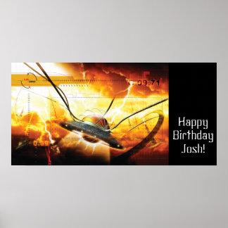 Bandera de la fiesta de cumpleaños del muchacho de posters