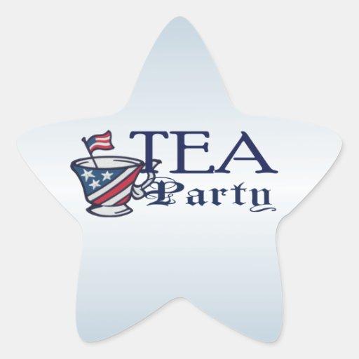 Bandera de la fiesta del té con la taza de té pegatinas forma de estrella personalizadas