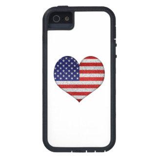 Bandera de la forma del corazón del Grunge de los  iPhone 5 Protector