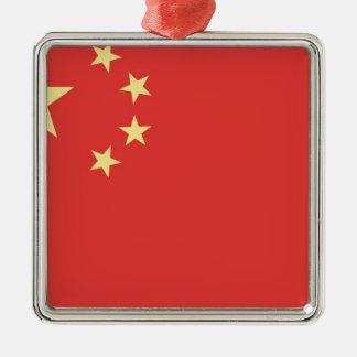 Bandera de la gente la República de China Adorno Navideño Cuadrado De Metal