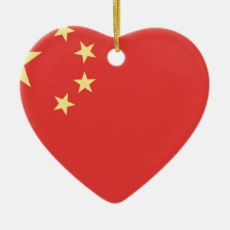 Bandera de la gente la República de China Adorno Navideño De Cerámica En Forma De Corazón