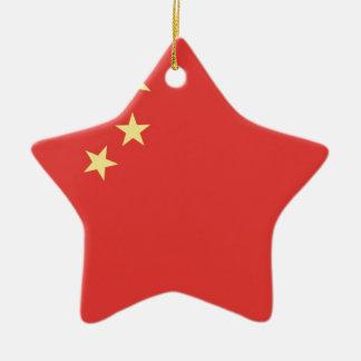 Bandera de la gente la República de China Adorno Navideño De Cerámica En Forma De Estrella