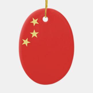 Bandera de la gente la República de China Adorno Navideño Ovalado De Cerámica
