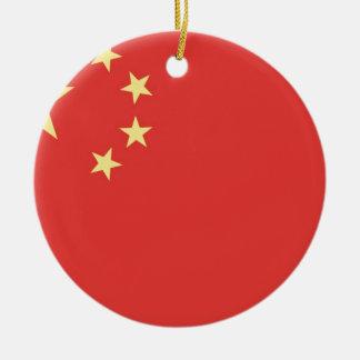 Bandera de la gente la República de China Adorno Navideño Redondo De Cerámica