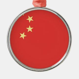 Bandera de la gente la República de China Adorno Navideño Redondo De Metal