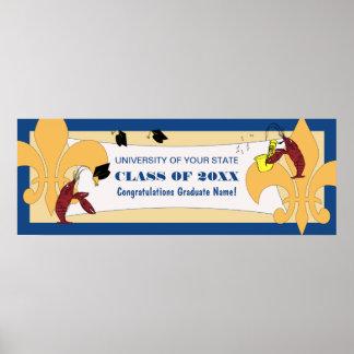 Bandera de la graduación de los cangrejos de la fl póster