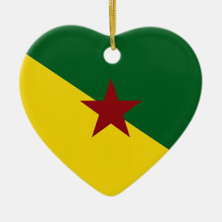 Bandera de la Guayana Francesa Adorno De Cerámica En Forma De Corazón