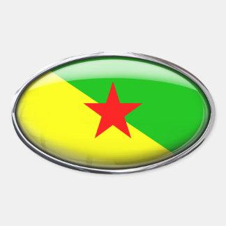Bandera de la Guayana Francesa en el óvalo de Pegatina Ovalada