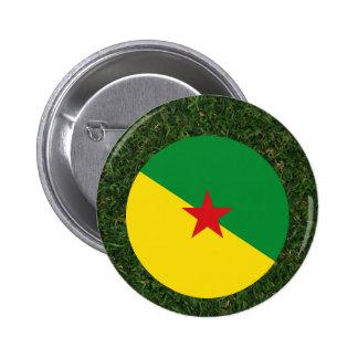 Bandera de la Guayana Francesa en hierba Pin Redondo 5 Cm