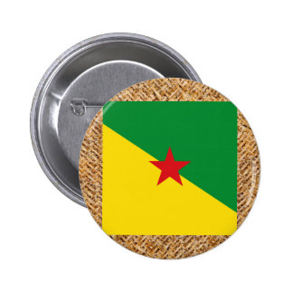 Bandera de la Guayana Francesa en la materia Pin Redondo 5 Cm
