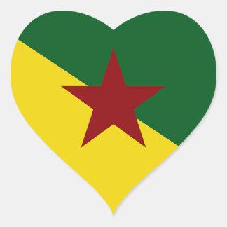 Bandera de la Guayana Francesa Pegatina En Forma De Corazón