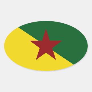 Bandera de la Guayana Francesa Pegatina Ovalada
