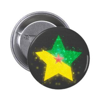 Bandera de la Guayana Francesa que brilla Pin Redondo 5 Cm