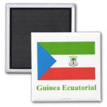 Bandera de la Guinea Ecuatorial con nombre en espa Imán De Frigorifico