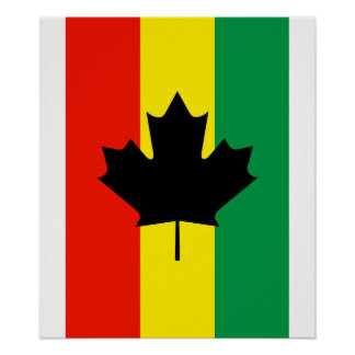 Bandera de la hoja de arce del reggae de Rasta Póster