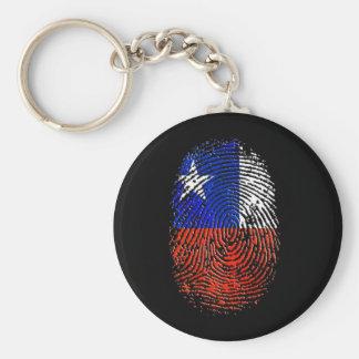 Bandera de la huella dactilar de la DNA del chilen Llavero Redondo Tipo Pin