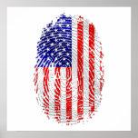 Bandera de la huella dactilar de los E.E.U.U. de l Poster