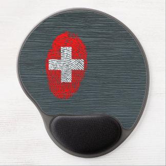 Bandera de la huella dactilar del tacto del suizo alfombrillas de raton con gel