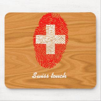 Bandera de la huella dactilar del tacto del suizo mousepad