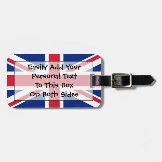 Bandera de la identificación fácil de Reino Unido  Etiqueta De Maleta