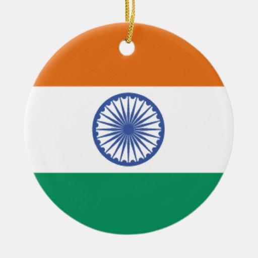 Bandera de la India Adorno Redondo De Cerámica