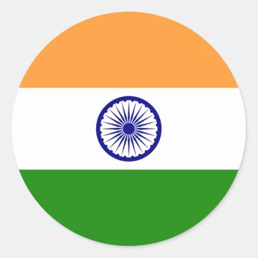 Bandera de la India. Bharat Ganrajya Pegatina Redonda