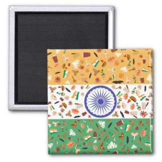 Bandera de la India con los artículos culturales Imán Cuadrado