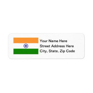 Bandera de la India Etiqueta De Remite