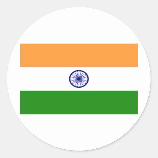 Bandera de la India Etiquetas Redondas