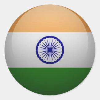 Bandera de la India Pegatina Redonda