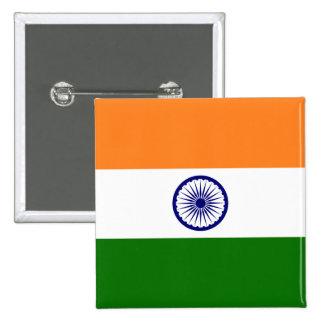 Bandera de la India Pin Cuadrado