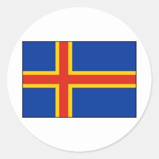 Bandera de la isla de Aland Etiqueta Redonda
