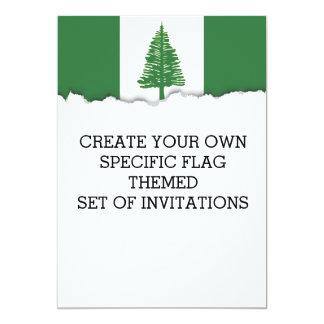 """Bandera de la isla de Norfolk Invitación 5"""" X 7"""""""