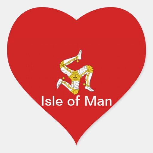 Bandera de la isla del hombre pegatinas de corazon