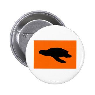 Bandera de la jerarquización de la tortuga de mar pin redondo de 2 pulgadas