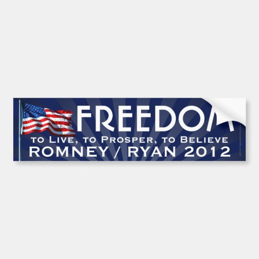 Bandera de la libertad, Romney/pegatina para el pa Pegatina De Parachoque