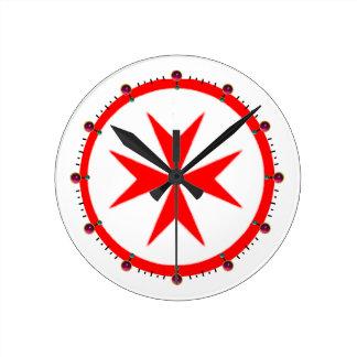 Bandera de la marina de guerra Toscana Medici Reloj Redondo Mediano