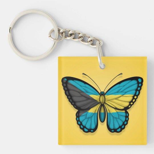 Bandera de la mariposa de Bahamas en amarillo Llavero Cuadrado Acrílico A Doble Cara