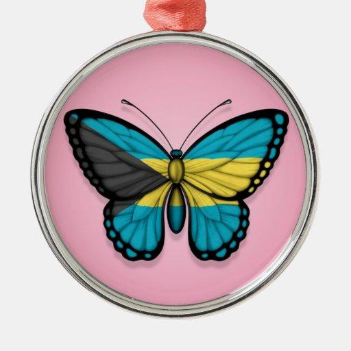 Bandera de la mariposa de Bahamas en rosa Adorno Navideño Redondo De Metal