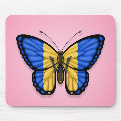 Bandera de la mariposa de Barbados en rosa Alfombrillas De Raton