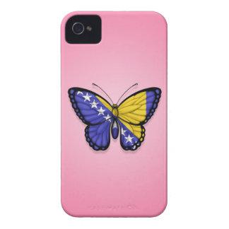 Bandera de la mariposa de Bosnia y Hercegovina en iPhone 4 Case-Mate Cárcasas