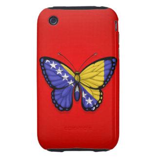 Bandera de la mariposa de Bosnia y Hercegovina en iPhone 3 Tough Fundas