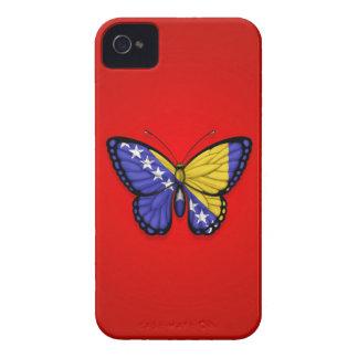 Bandera de la mariposa de Bosnia y Hercegovina en iPhone 4 Case-Mate Cárcasa