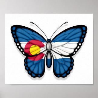 Bandera de la mariposa de Colorado Poster