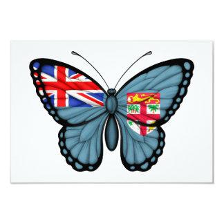 """Bandera de la mariposa de Fiji Invitación 3.5"""" X 5"""""""