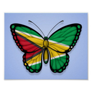 Bandera de la mariposa de Guyana en azul Póster
