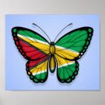 Bandera de la mariposa de Guyana en azul Posters