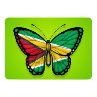 """Bandera de la mariposa de Guyana en verde Invitación 5"""" X 7"""""""