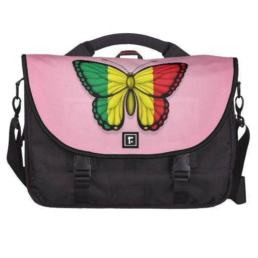 Bandera de la mariposa de Malí en rosa Bolsas De Ordenador